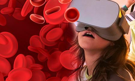 Niña experimentando con realidad virtual