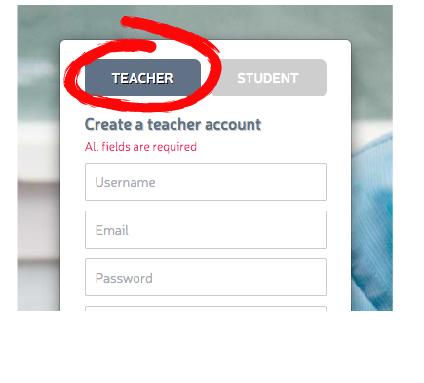 visual instruction on how to create a teacher account